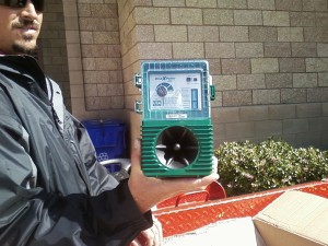 The bird expeller displayed by maintenance man Mr. Jason Nunes